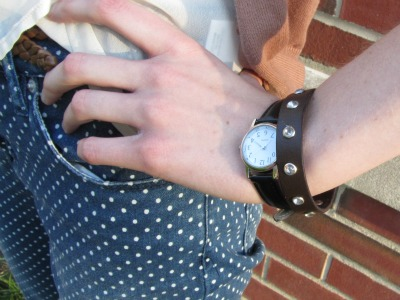 College street style at Ball State University - dainty watch and leather bracelet