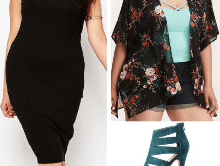 plus size black bodycon dress black kimono jacket blue strappy heels