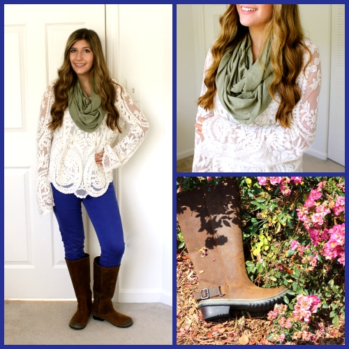 Indigo-Pants-White-Scalloped-Top-Green-Infinity-Scarf-Sorel-Boots