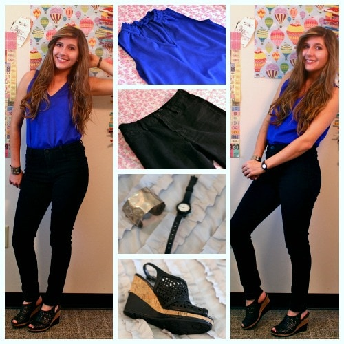 Indigo top black highwaisted jeans wedges black watch