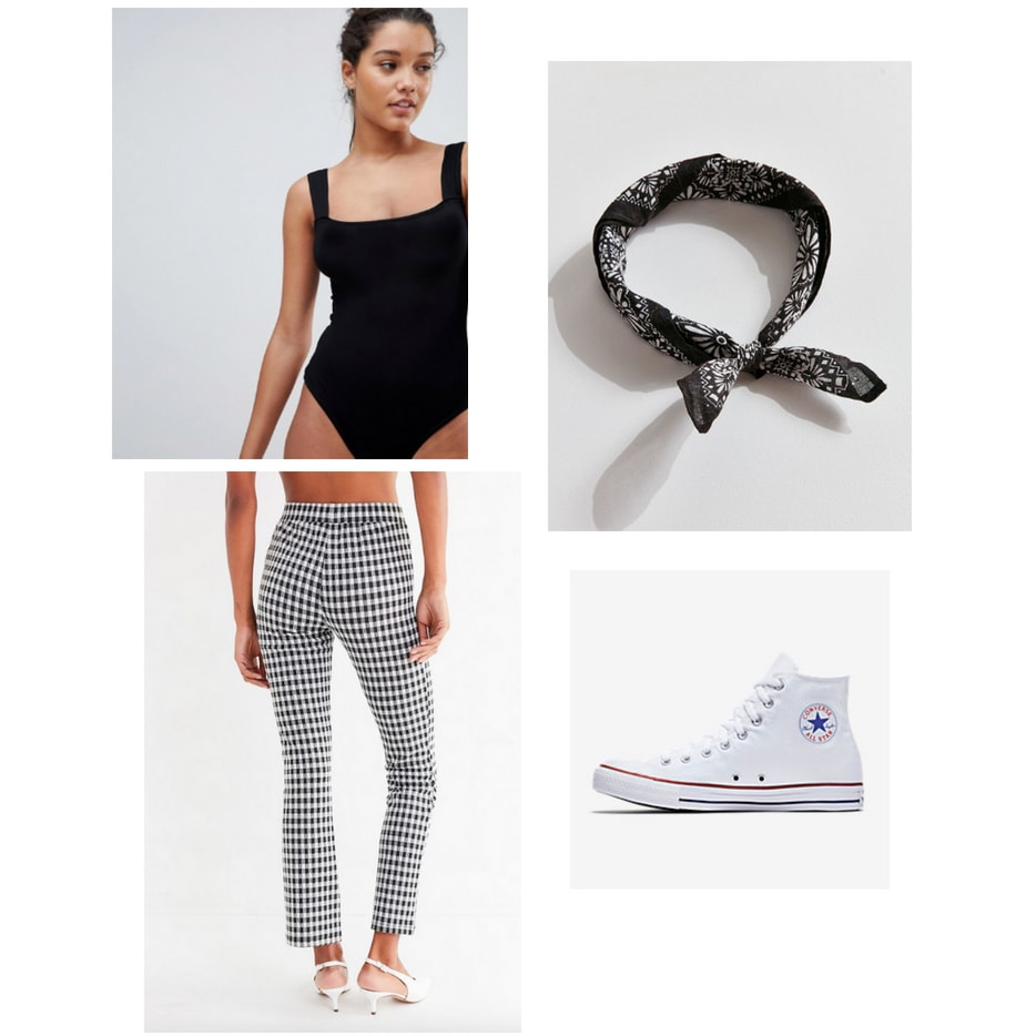 Indoor summer activities: Outfit for going to the arcade with black bodysuit, gingham pants, bandana, high top white converse