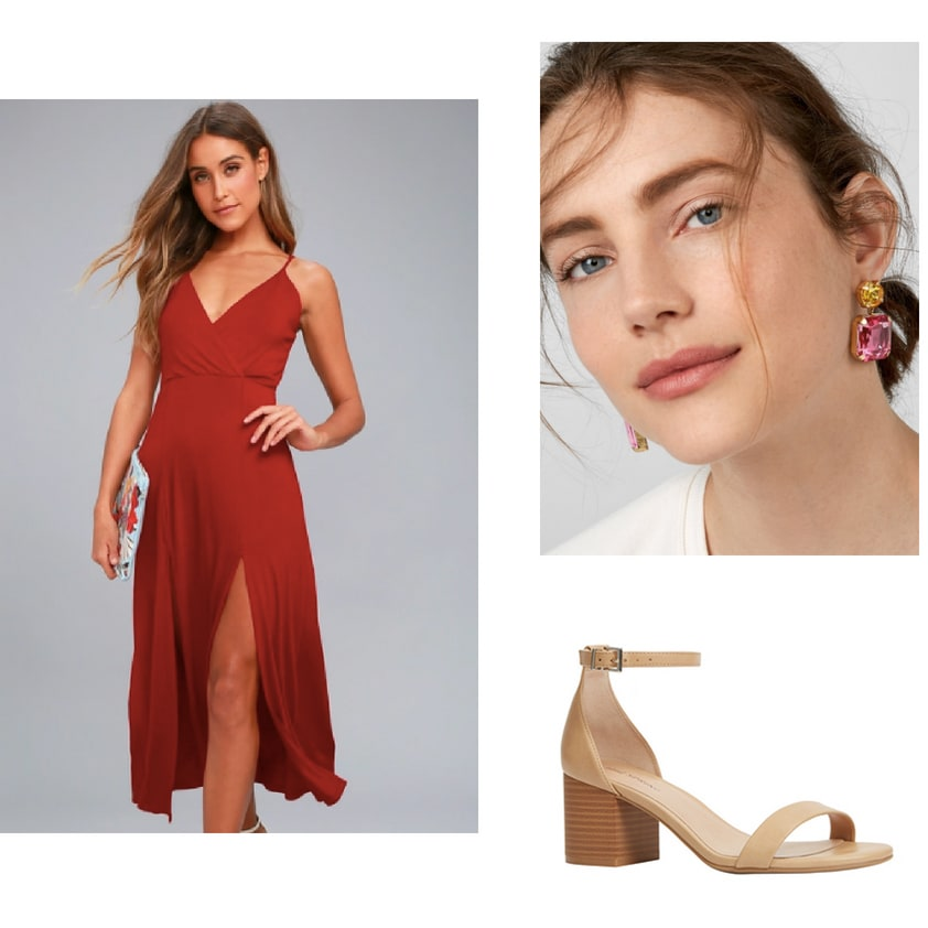 Outfit idea for dinner and salsa dancing: Red strappy maxi dress, statement earrings, nude block heel shoes