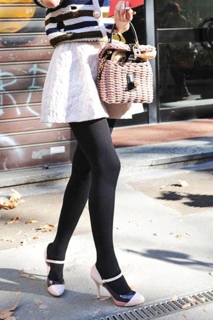 white skirt black tights