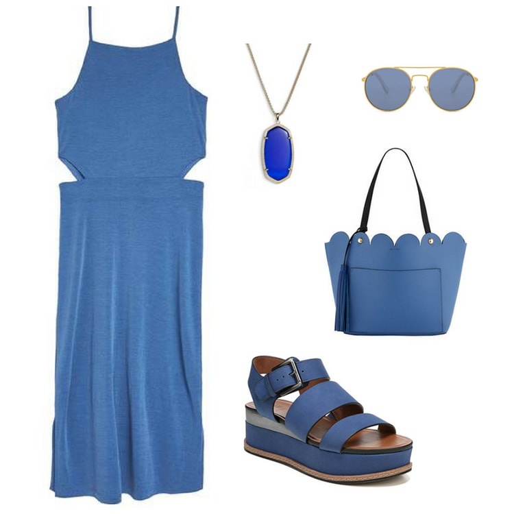 Outfit inspired by Marvel's infinity stones: Blue cutout dress with blue sandals, scalloped blue handbag, blue pendant necklace and blue aviator sunglasses
