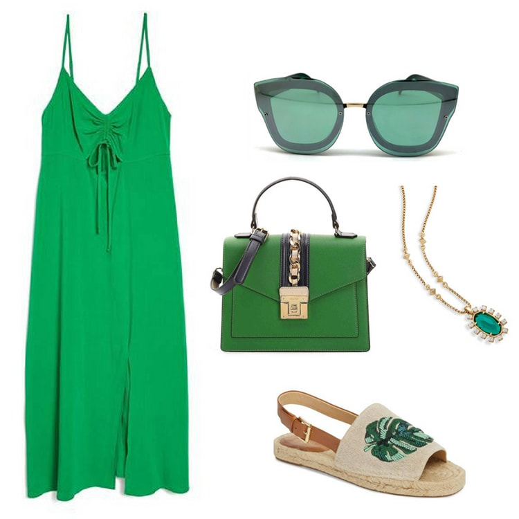 Green outfit inspired by Marvel's infinity stones: Green strappy sundress, green sunglasses, green top handle bag, green and gold necklace, palm embellished espadrille sandals