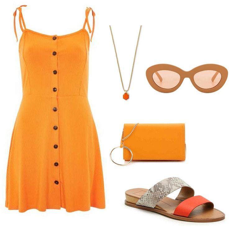 Orange outfit inspired by Marvel's Infinity Stones: Orange button front sun dress, orange necklace, orange rounded sunglasses, orange ring embellished clutch, orange and snakeskin sandals