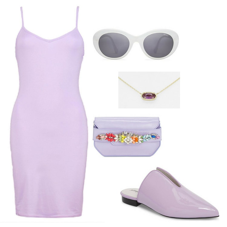 Purple outfit inspired by Marvel's infinity stones: Purple body-con dress in lavender, white oval sunglasses, purple clutch with rainbow jeweled embellishments, purple patent mules
