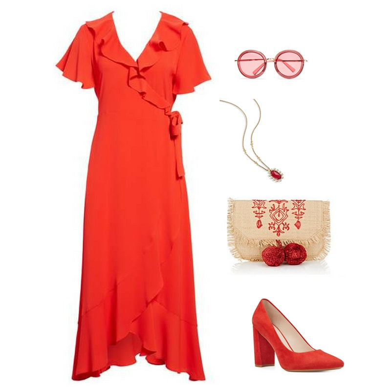 Red outfit inspired by Marvel's infinity stones: Red ruffle wrap dress with round sunglasses, red printed clutch with pom pom detailing, pendant necklace and satin pumps