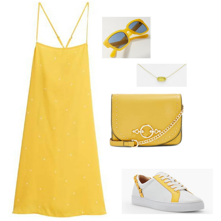 Yellow outfit inspired by Marvel's infinity stones: Yellow strappy dress, yellow crossbody bag, white and yellow sneakers, yellow wayfarer sunglasses