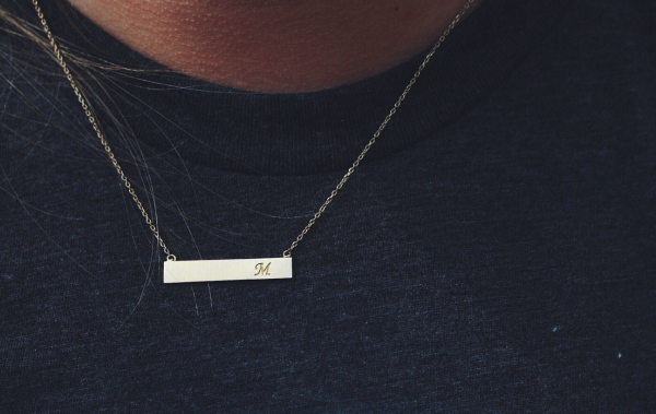 bar shaped initial necklace