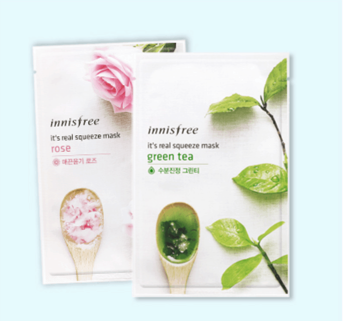 innisfree sheet masks green tea and rose