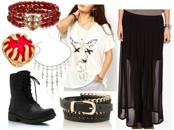 Inspired by house baratheon with deer graphic tee black maxi skirt black chain belt black combat boots cross layered necklace red flame ring and garnet bracelet