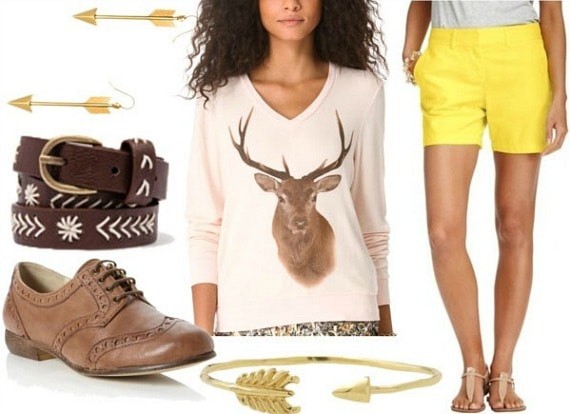 Inspired by house baratheon with stag graphic sweater tailored yellow shorts tan brogues embroidered brown belt arrow bangle and arrow earrings