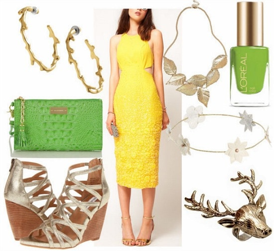 Inspired by house baratheon with yellow cut out mini dress green clutch gold wedges leaf statement necklace branch hoop earrings stag ring floral headband and green nail polish