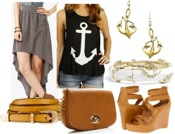 Inspired by house greyjoy with anchor tank grey high low skirt brown belt spiked satchel camel wedges gold tentacle bangle gold anchor earrings