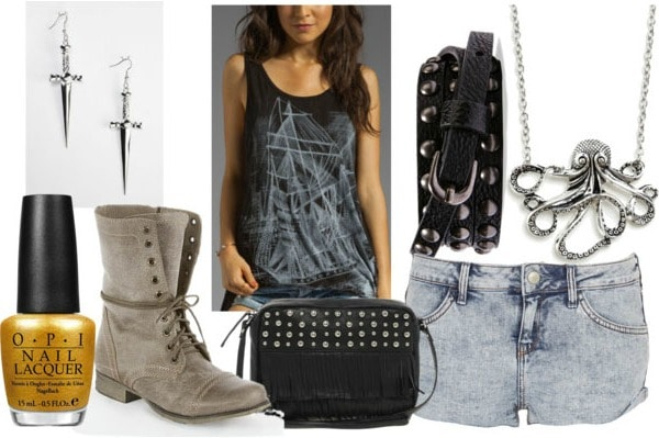 Inspired by house greyjoy with graphic ship tank acid wash denim shorts studded belt studded bag grey combat boots octopus necklace dagger earrings and gold nail polish