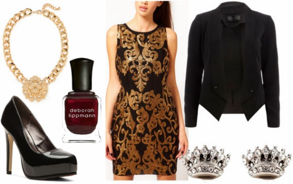 Inspired by house lanister gold baroque dress black blazer black pumps lion necklace crown earrings and burgundy nail polish
