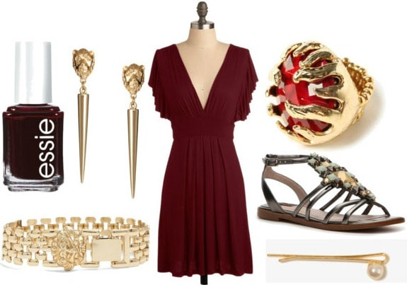 Inspired by house lannister with crimson empire dress gladiator sandals lion bracelet lion earrings red cocktail ring pearl hairpin and oxblood nail polish
