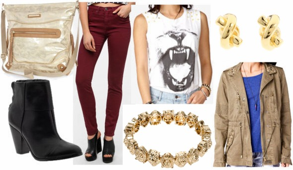Inspired by house lannister with oxblood jeans graphic studded lion tee olive utility jacket gold lion bracelet black ankle booties gold messenger bag and gold knot earrings