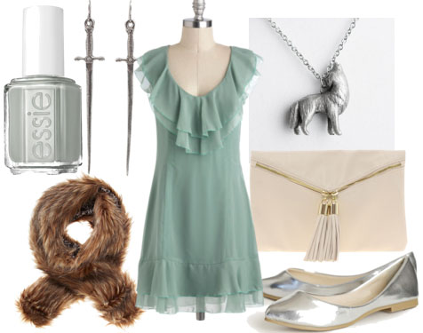 Inspired by house stark mint dress ivory tassle clutch silver flats wolf necklace brown fur stole gray nail polish sword earrings