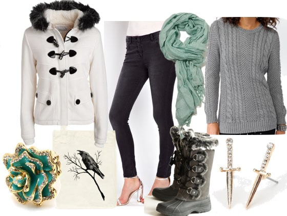 Inspired by house stark white fur coat mint scarf gray jeans gray cable sweater blue rose ring gray fur snow boots crow tote sword earrings