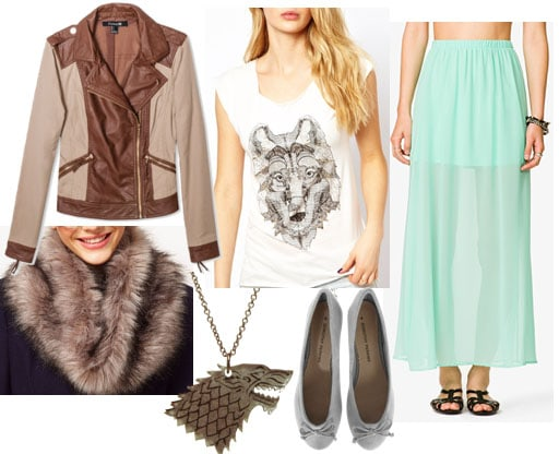 Inspired by house stark white wolf tee mint maxi skirt gray ballet flats stark necklace fur snood brown leather jacket