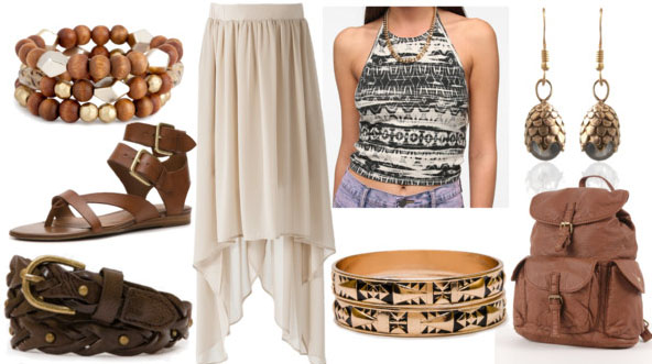 Inspired by house targaryen with printed halter top cream maxi skirt brown leather backpack gladiator sandals gold bangles beaded bracelet leather belt and dragons egg earrings