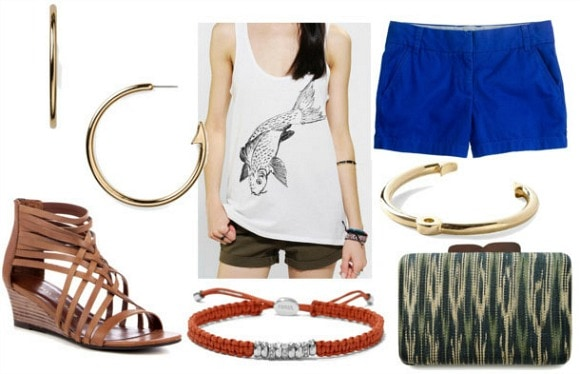 Inspired by house tully with fish graphic tank tailored cobalt shorts wave clutch gladiator wedges gold bangle woven red bangle and fish hook earrings