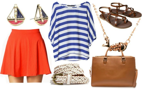 Inspired by house tully with nautical striped top red skater skirt white woven belt tan briefcase brown sandals fishbone necklace and sailboat studs