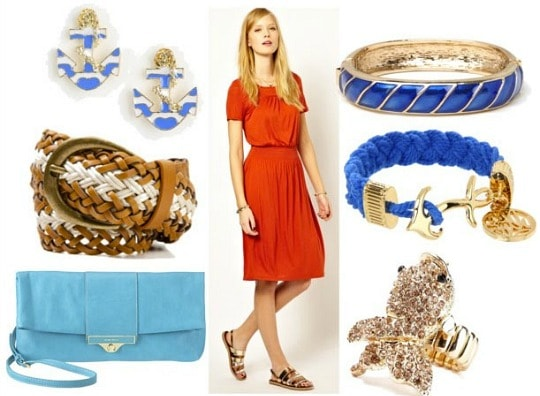 Inspired by house tully with red midi dress woven belt aqua clutch goldfish ring anchor bracelet blue bangle and anchor earrings