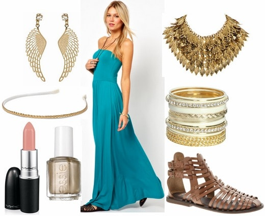 Inspired by targaryen with blue ruffled maxi dress gold statement necklace gold bangles wing earrings braided headband gladiator sandals nude lipstick and gold nail polish