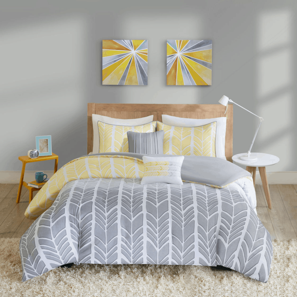 JCPenney colorblocked sunshine yellow and grey geometric chevron dorm duvet.
