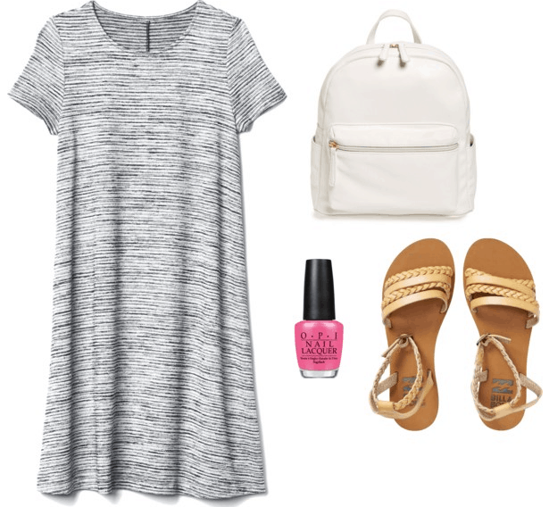 gray t-shirt dress white backpack matte gold braided sandals hot pink nail polish