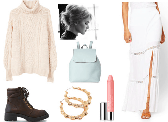 Outfit inspired by Iowa scenery: cable-knit sweater, lace maxi skirt, chunky boots, gold hoop earrings, pale pink lip gloss, pastel backpack, messy updo