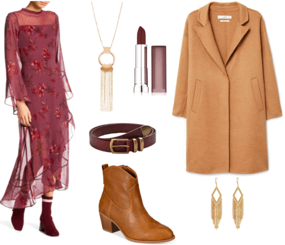 Outfit inspired by Prairie Dresses: long, embroidered magenta dress with flowers, camel coat, brown leather booties, gold pendant and earrings, leather red belt and dark red lipstick