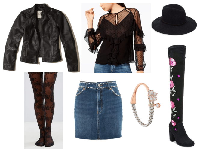 Outfit inspired by flowers in Iowa: Denim mini skirt, sheer ruffle-embellished top in black, black faux leather moto jacket, black patterned tights, black fedora, black embroidered over the knee boots, rose gold floral bracelet
