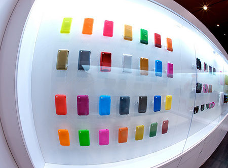 iPhone cases on display