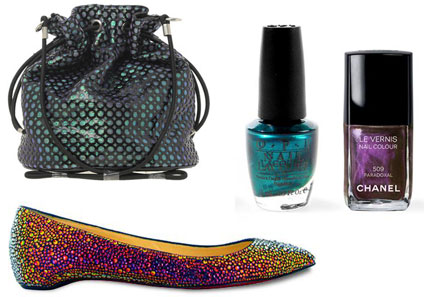 Iridescent accessories and nail polish