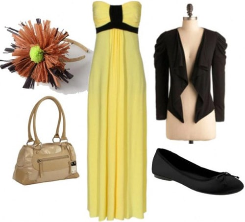 Casual outfit featuring a yellow maxi dress inspired by Iridessa
