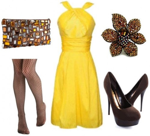 Dressy outfit with a yellow dress inspired by Iridessa