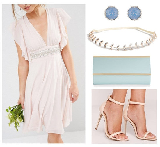 Outfit inspired by Iris from Greek Mythology: Rose quartz dress, strappy sandals, serenity clutch and jewelry