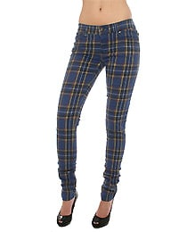 Tripp NYC The Skinny Stretch Twill Pants in Midnight Blue Plaid, Denim for Women