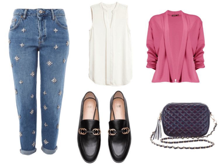 Outfit inspired by Isabella Santos from The Letter video game: black loafers, embellished boyfriend jeans, white sleevless top, pink blazer and a purple crossbody bag.