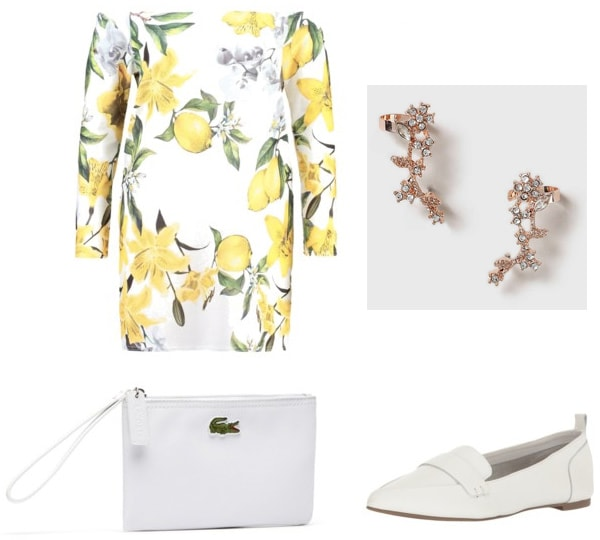 Outfit inspired by the movie It's Complicated: Sophisticated vibes with off-the-shoulder lemon print dress, Lacoste white clutch, white loafer flats, rose gold ear cuffs