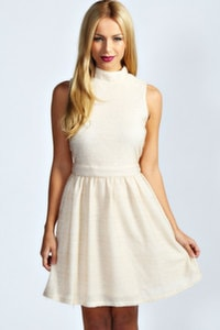 Ivory high neck dress