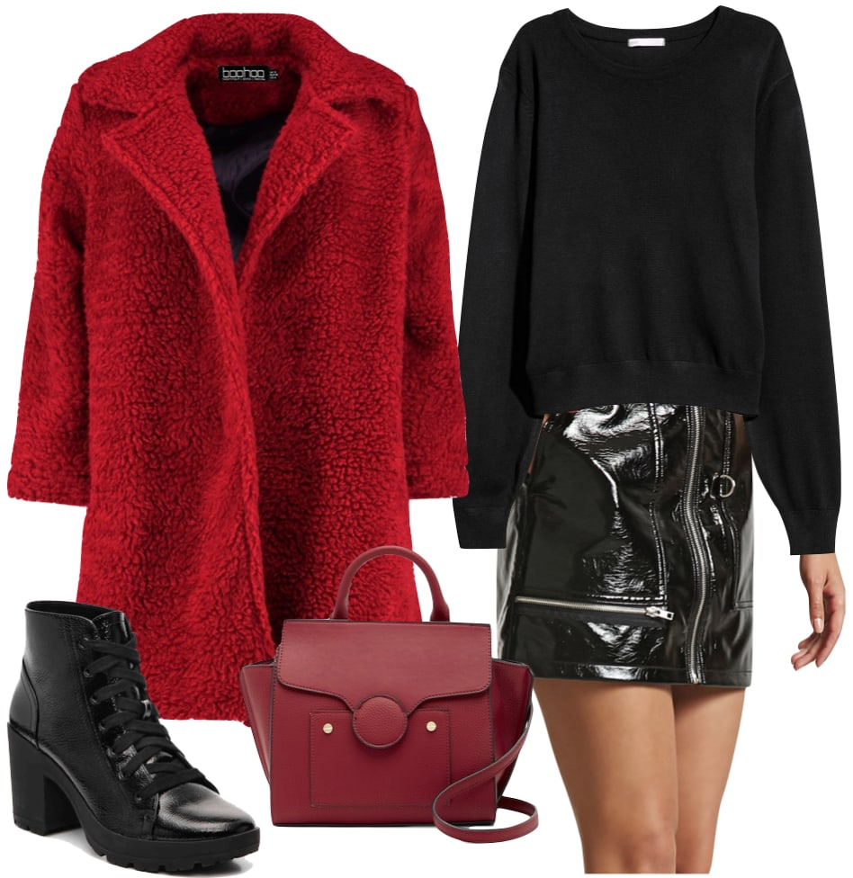 Izabel Goulart Outfit: red teddy bear coat, black sweater, black faux patent leather zipper detail mini skirt, red top handle mini satchel bag, black faux patent leather lace up platform ankle boots