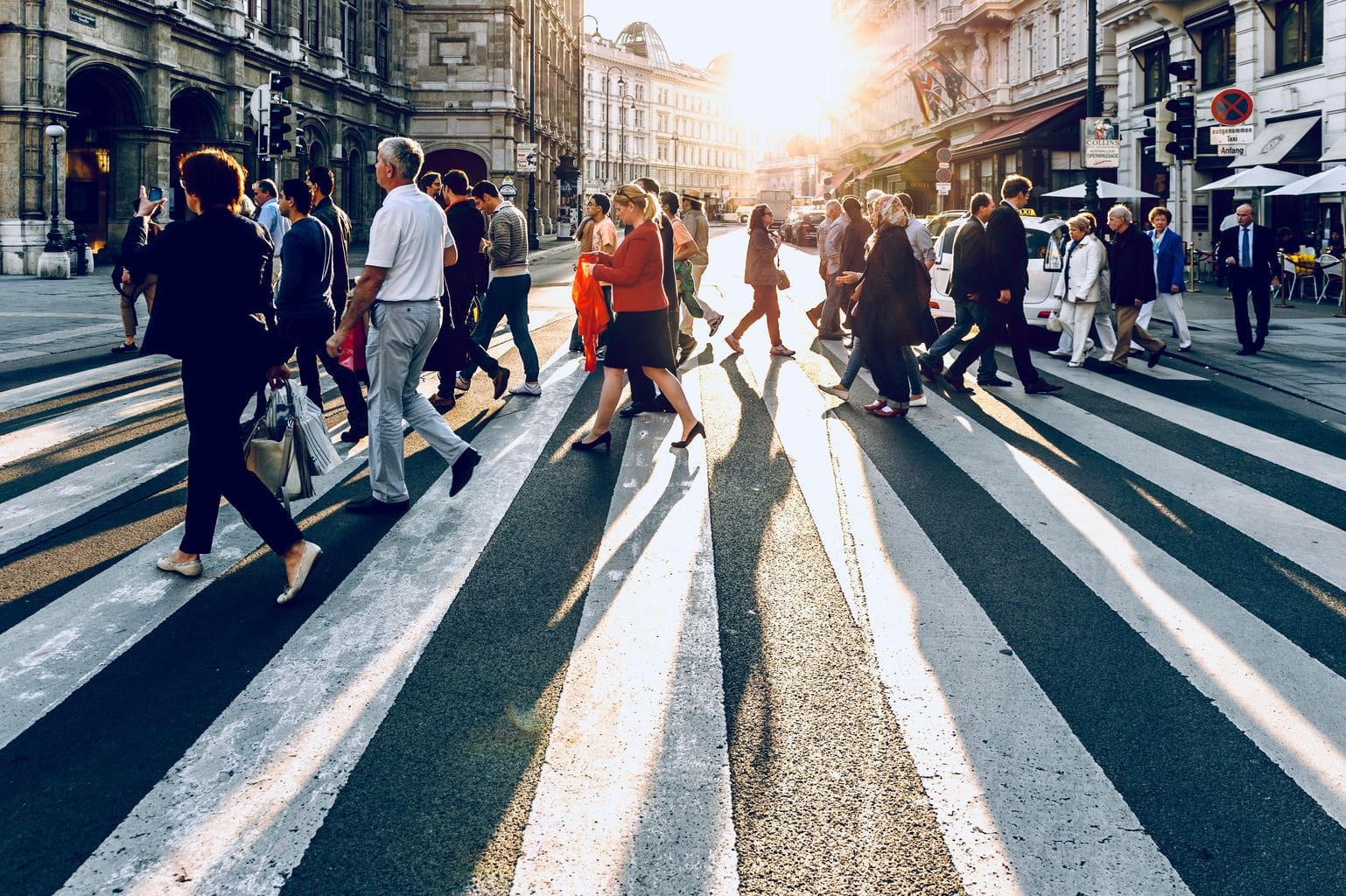street, city, crosswalk, tourists, explore