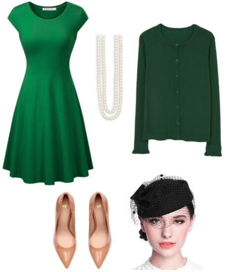 A green A-line cap sleeve dress, double strand pearl necklace, dark green cardigan, tan pumps (from above), and headshot of a model wearing a black pillbox hat with netting over the eyes