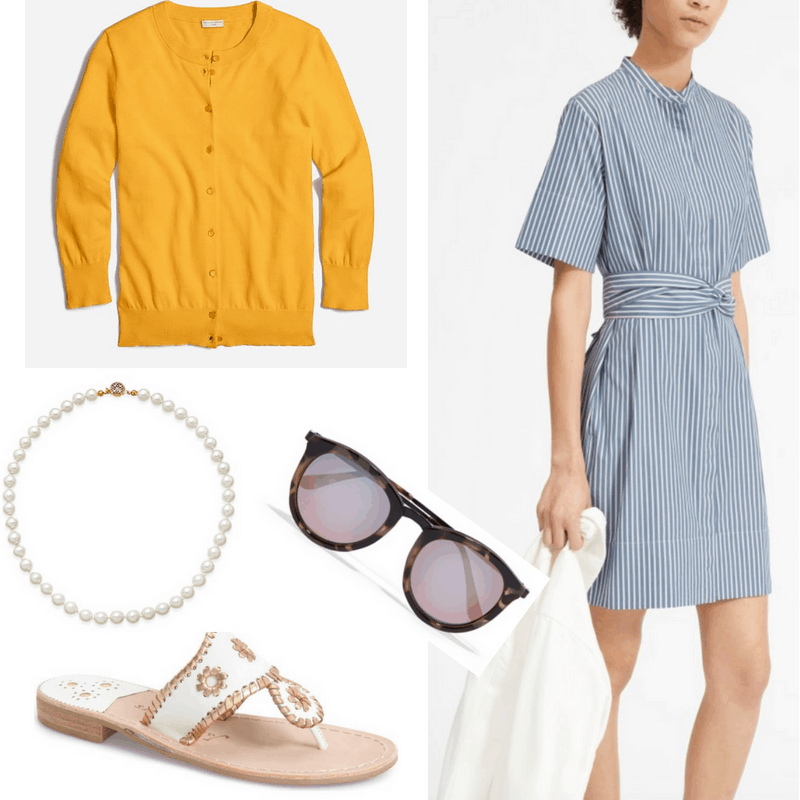 Jackie O style: Outfit inspired by Jackie Kennedy with striped blue shirtdress, yellow cardigan, pearl necklace, Jack Rogers sandals, and oversized tortoiseshell sunglasses