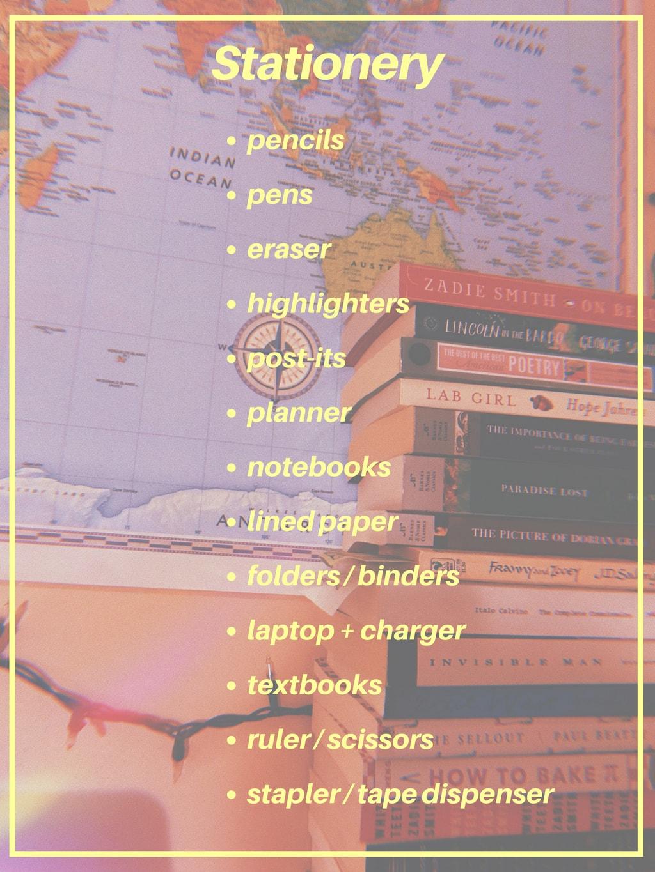 College school supplies list